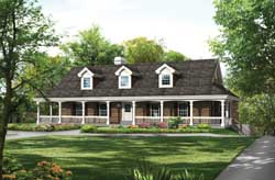 Country Style Home Design Plan: 77-360