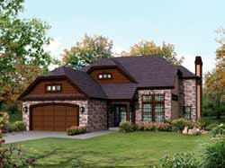 English-Country Style House Plans Plan: 77-390