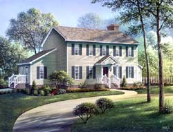Early-American Style Home Design Plan: 77-447