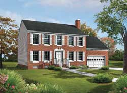 Colonial Style Home Design Plan: 77-450