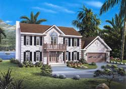 Early-American Style Home Design Plan: 77-456