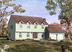 Early-American Style Home Design Plan: 77-595