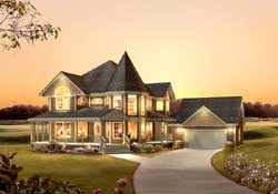 Victorian Style Home Design Plan: 77-614