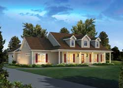 Country Style Home Design Plan: 77-702