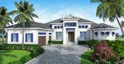 Florida Style Home Design Plan: 78-133