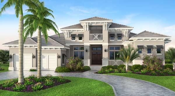 Florida Style Home Design Plan: 78-134