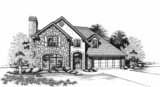 European Style Home Design Plan: 8-1049