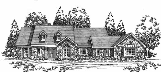 Country Style Home Design Plan: 8-1068