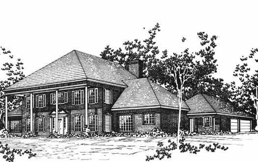 Southern-colonial Style Home Design Plan: 8-1078