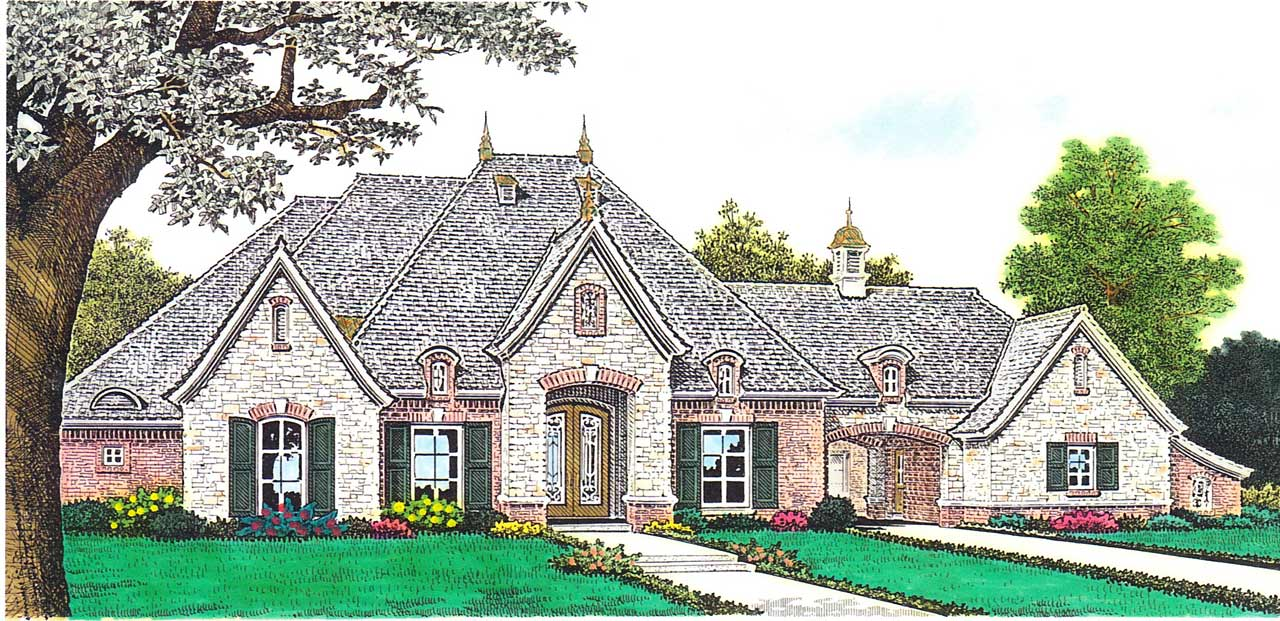 French-country Style Floor Plans Plan: 8-1194