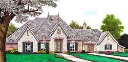 French-Country Style Home Design Plan: 8-1194