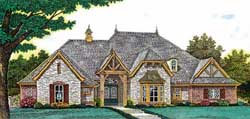 English-Country Style Home Design Plan: 8-1209