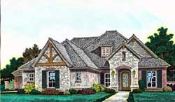 European Style Home Design Plan: 8-1229