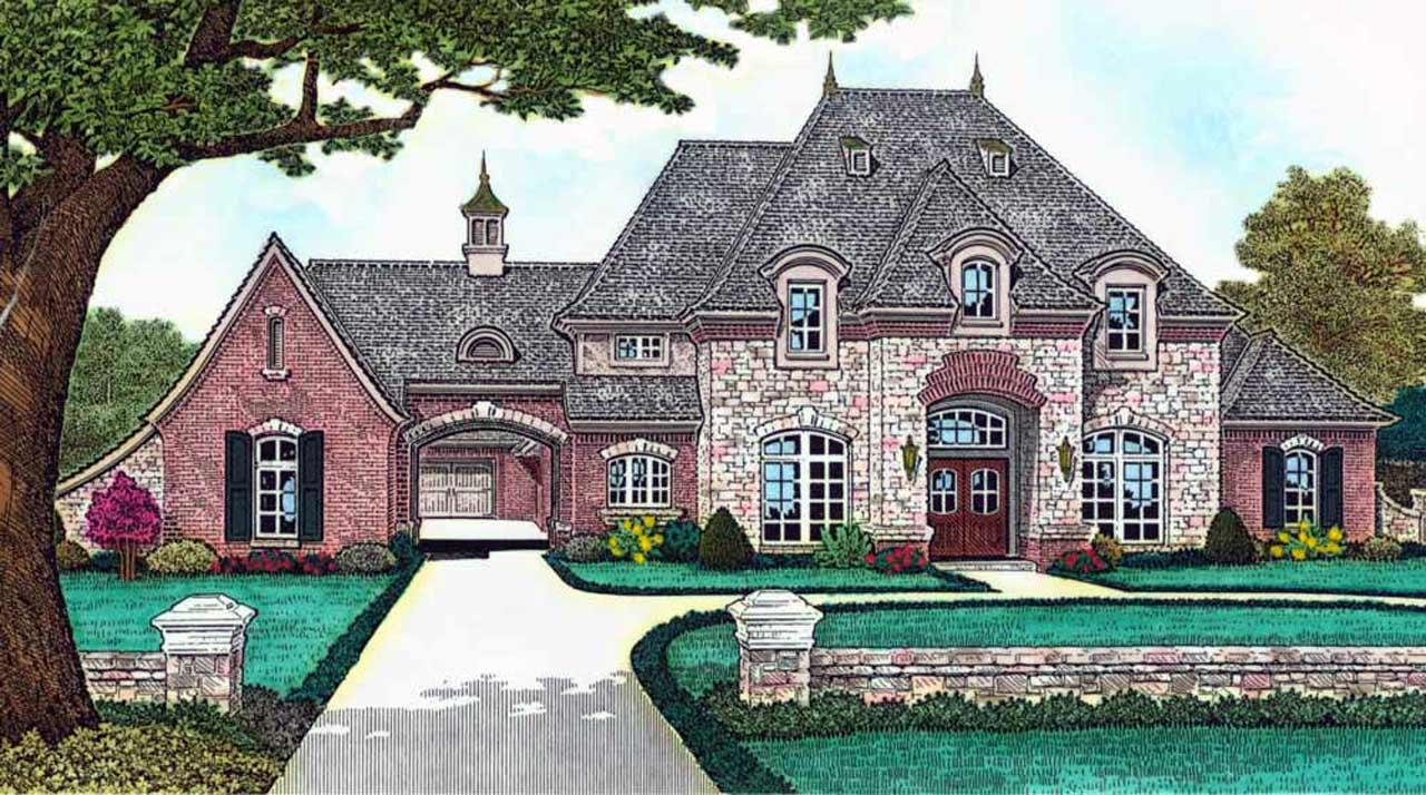 European Style Home Design Plan: 8-1237