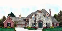 European Style Home Design Plan: 8-1252
