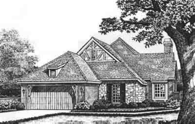 English-country Style Home Design Plan: 8-184