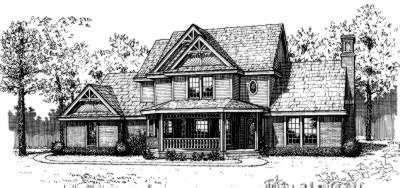 Country Style Home Design Plan: 8-195