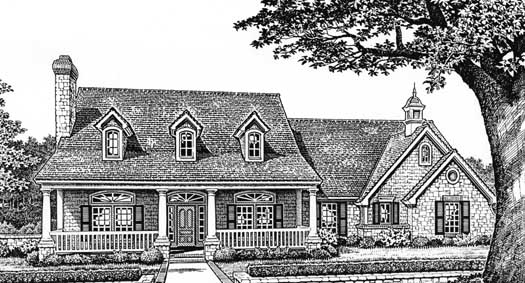Southern Style Home Design Plan: 8-236