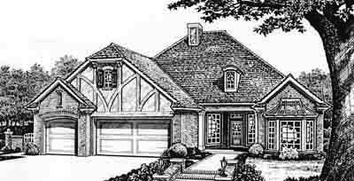 English-country Style Home Design Plan: 8-252