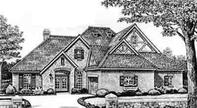 English-country Style Home Design Plan: 8-303