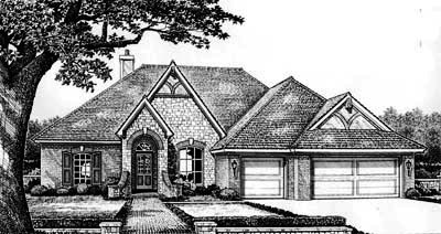 English-country Style Home Design Plan: 8-305