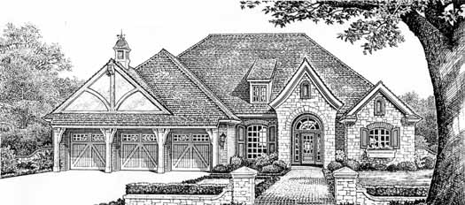 English-country Style Home Design Plan: 8-356