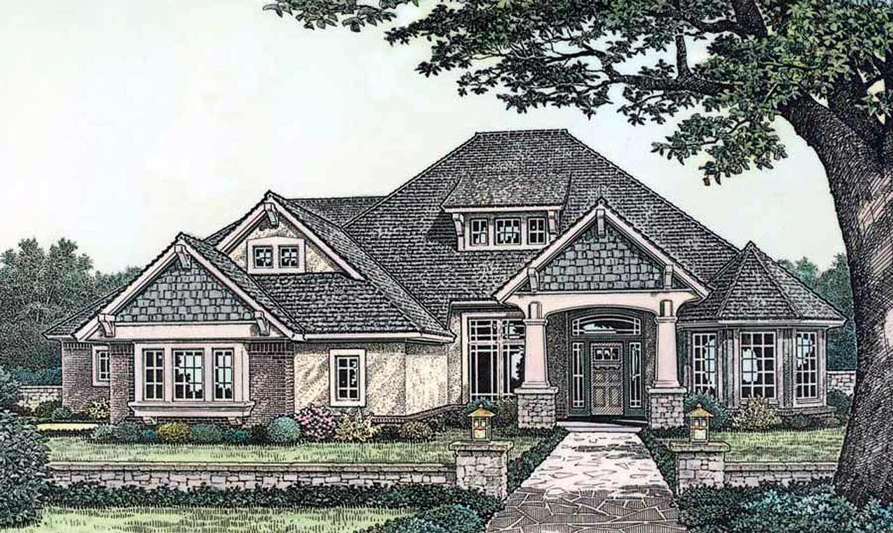 Craftsman Style Home Design Plan: 8-357