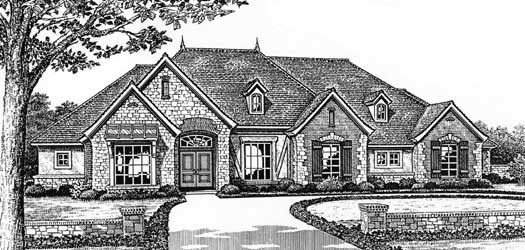 European Style Home Design Plan: 8-420