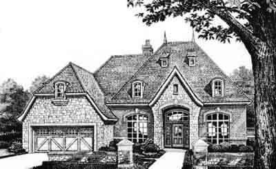 European Style Home Design Plan: 8-424