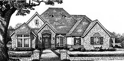 English-country Style Home Design Plan: 8-431