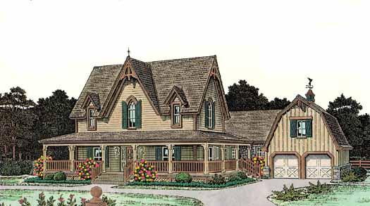 Farm Style Home Design Plan: 8-436