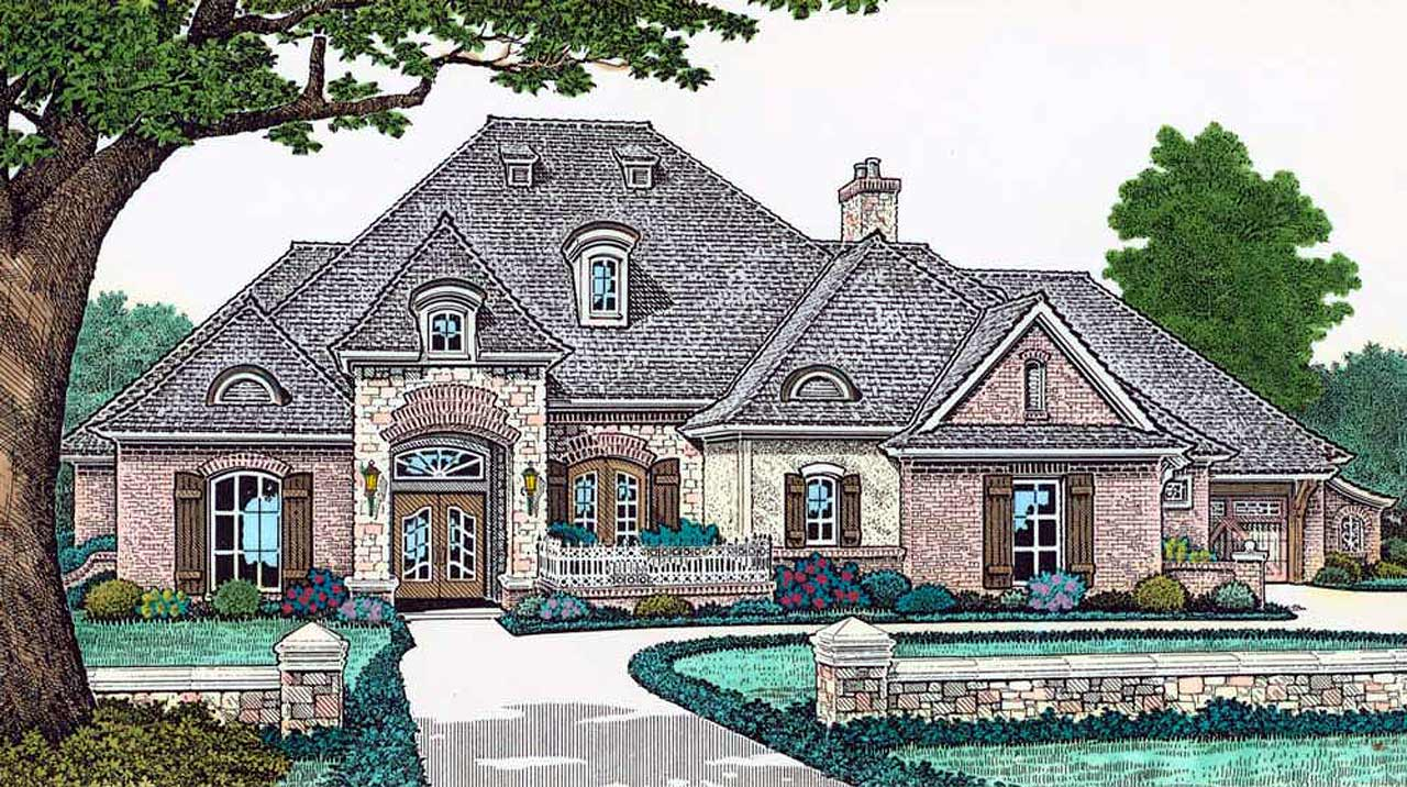 French-country Style Home Design Plan: 8-453