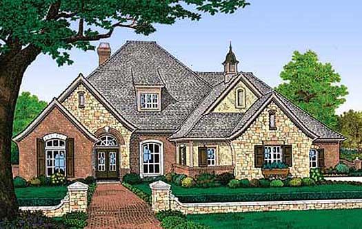 European Style Home Design Plan: 8-465