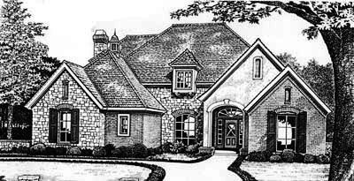 European Style Home Design Plan: 8-477