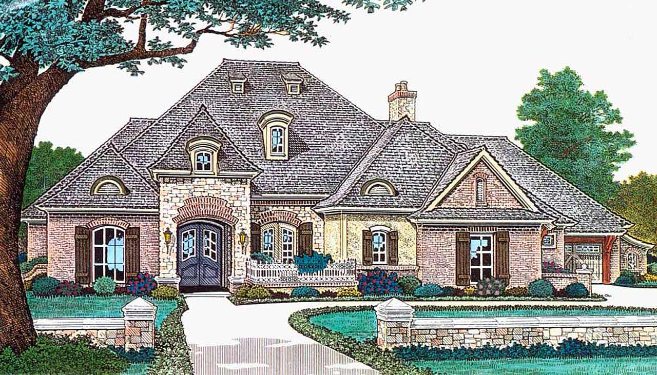 French-country Style Home Design Plan: 8-489
