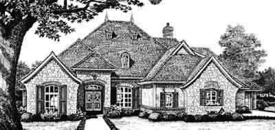 European Style Home Design Plan: 8-493