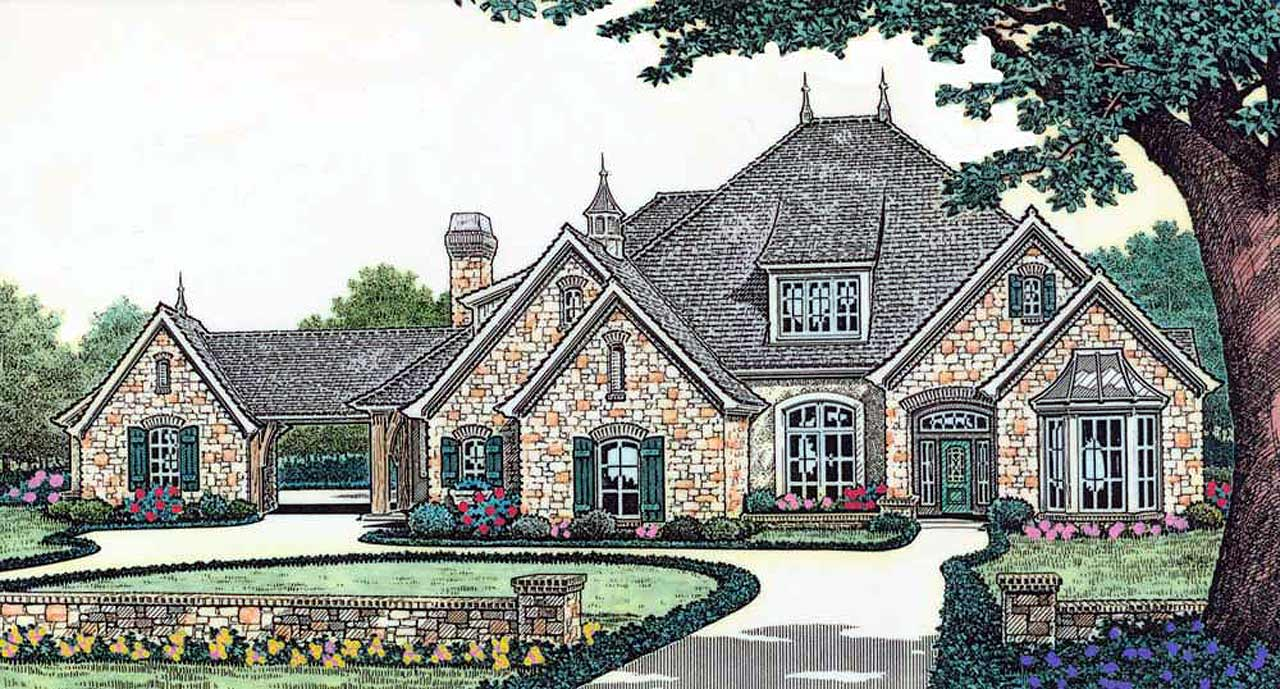 French-country Style Home Design Plan: 8-509