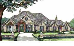 French-Country Style Home Design Plan: 8-523