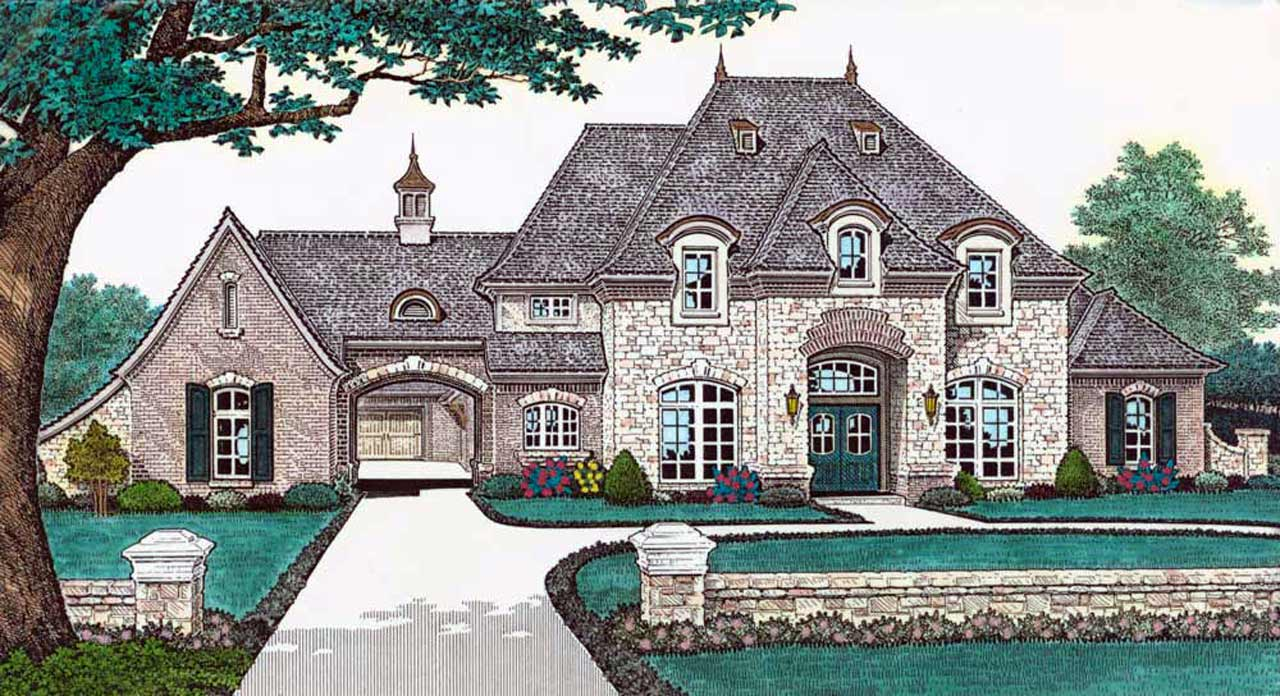 French-country Style Home Design Plan: 8-556