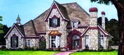 English-Country Style Home Design Plan: 8-577