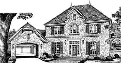 European Style Home Design Plan: 8-584
