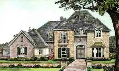 French-country Style Home Design Plan: 8-585