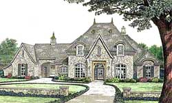 French-Country Style Home Design Plan: 8-588