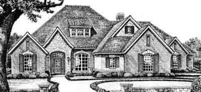 European Style Home Design Plan: 8-595