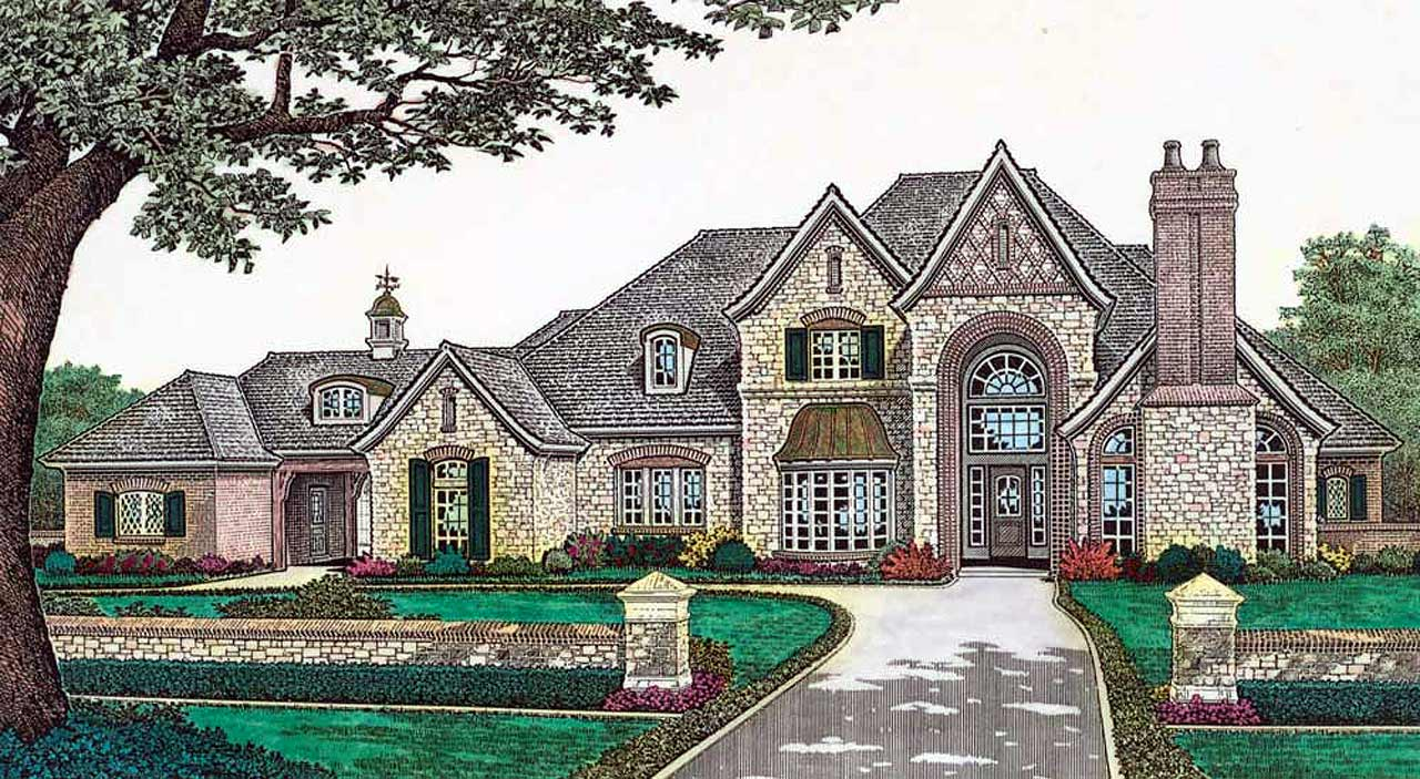 French-country Style Home Design Plan: 8-602