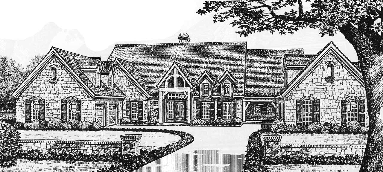 English-country Style Home Design Plan: 8-605