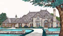 French-Country Style Home Design Plan: 8-606