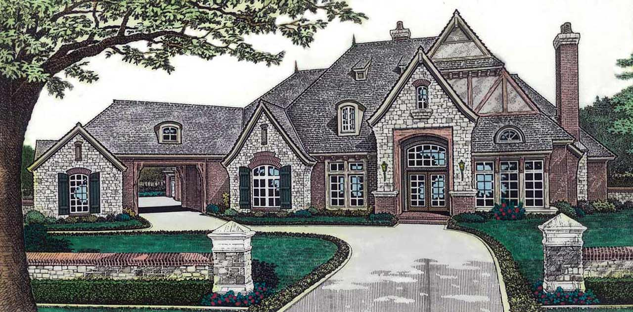 English-country Style Floor Plans Plan: 8-608