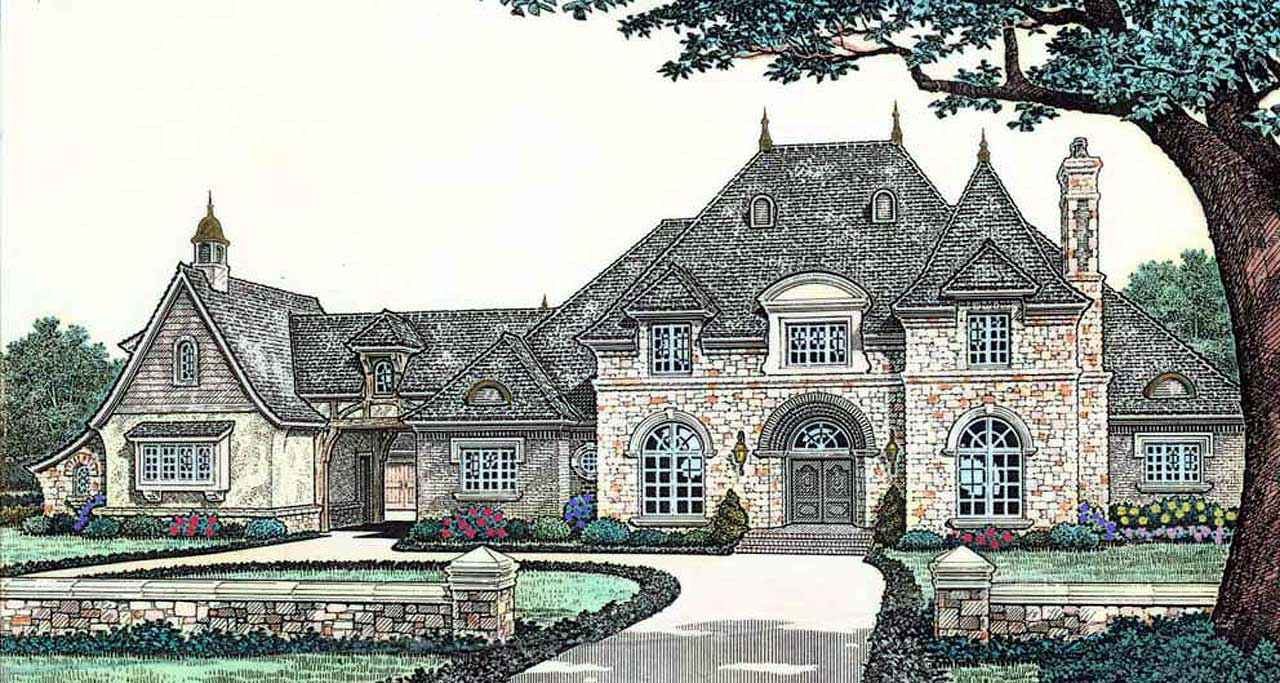 French-country Style Home Design Plan: 8-613