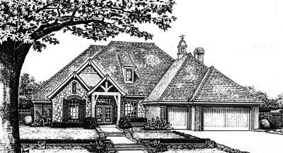 European Style Home Design Plan: 8-657